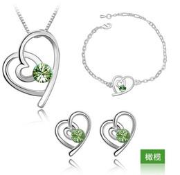 $enCountryForm.capitalKeyWord NZ - Fashion Bridal Necklaces Austria Zircon Crystal Necklace+Stud Earrings+Bracelet Jewelry Set Lover Double Heart Rhinestone Jewellry Free DHL