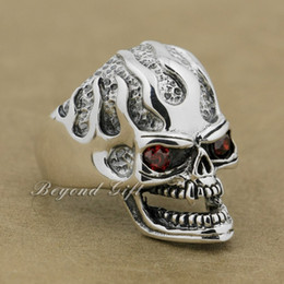 $enCountryForm.capitalKeyWord Canada - 925 Sterling Silver Red CZ Eyes Skull Mens Biker Punk Ring 9Q020 US Size 8~14 Free Shipping
