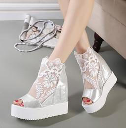 cb7602f97 Новый Лена сладкий кружева белые сандалии высокая платформа клин сандалии  невидимый высота увеличение peep toe женская обувь 2 цвета размер 35 до 39