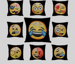 Funny cushion cases online shopping - Popular Emoji Cushion Cover Reversible DIY Sequin Mermaid Pillow Case Funny Changing Smiley Faces Decorative Pillowcase