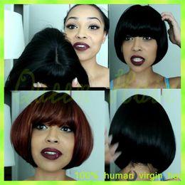 $enCountryForm.capitalKeyWord Canada - New Arrival!! Fashion Yaki Straight Short Wigs Natural Color Silk Top Full Lace Wig Brazilian 100% Human Hair With Baby Hair