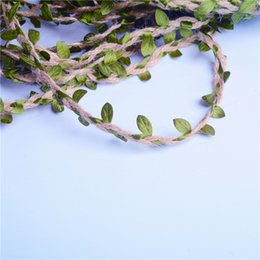 Chinese  Hot Sale Mori series hemp rope 10m simulation green leaf mixed hemp rope decoration bouquet packaging ribbon hand diy material manufacturers