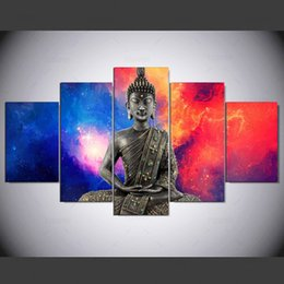 Art Canvas Prints Australia - 5 Pieces Colorful Buddha Canvas HD Prints Posters Home Wall Art Pictures Abstract Paintings Room Decor Framework