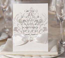 White Wedding Invitations Followers Hollow Wedding Invitation Elegant Square  Wedding Invitations Card 50pcs Lot Free Shipping