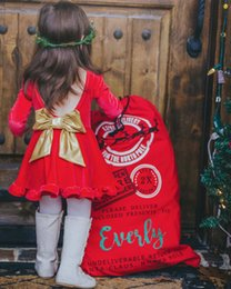 Robes De Velours Bébé Pas Cher-Robes Red Christmas 2018 Printemps Little Kids Filles Princesse Bow Dress Bébés Velours Backless Dress Enfants Xmas Vêtements