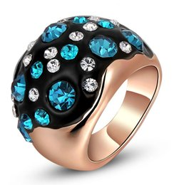 Rose Gold Cluster Engagement Rings Canada - Womens Spphire Blue Crystal Inlay Lady Party Finger Band Engagement Wedding Rose Gold Plated Black Ring