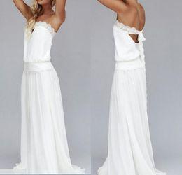 Gold Drop Waist Dress Canada - 2016 Vintage Dresses 1920s Beach Wedding Dress Cheap Dropped Waist Bohemian Strapless Backless Boho Bridal Gowns Lace Ribbon Custom Made