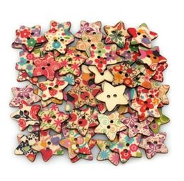 Chinese  NEW Star Shaped Painted Hole Wooden Buttons 25mm x25m 100pcs bags manufacturers