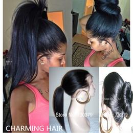 Half Lace Wig Brazilian Hair Canada - Free Shipping Brazilian Light Yaki Lace Wigs Virgin Glueless Lace Front Human Hair Wigs Yaki Straight Full Lace Human Hair Wigs