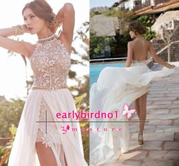 Barato Linha De Vestido De Verão Halter-2015 Julie Vino Summer Beach Celebrity Red Carpet Vestidos A Line Chiffon Side Slit Lace Halter Backless Prom Dress Party Vestido de noite BO5557