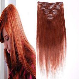 hair 33 2019 - #33 Dark Auburn Brown brazilian virgin hair clip in extension 100g 7pcs Lot Straight african american clip in human hair