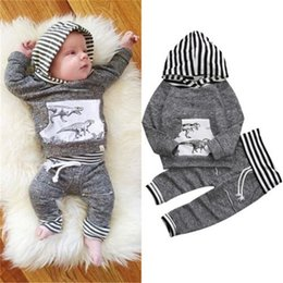 Sweat-shirt À Capuche Dinosaure Pas Cher-2017 Bébé À Capuchon Vêtements Ensembles Garçons Tout-Petits Hoodies Tops Pantalon 2 Pcs Ensemble Automne Coton Dinosaur Infantile Sweats Boutique Vêtements Vêtements Tenues