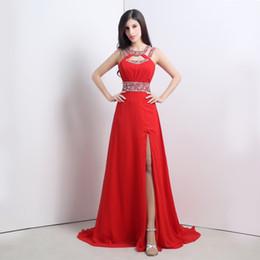 2015 em stock Red Prom Dresses A Linha Comprimento Pavimento Jewel Side splite Formal Evening Vestidos Tamanho 6 a 16 vestidos de festa Chiffon em Promoção