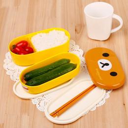Kahverengi Mikrodalga Öğle Yemeği Kutusu Rilakkuma Bento Sarı Mikrodalga Burun Delikleri Tavuklar Çok Katmanlı Çocuk Öğle Yemeği Kutusu Çubuklarını ile SıCAK