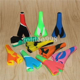 $enCountryForm.capitalKeyWord Canada - wholesale silicone bubbler bong silicone Oil Burner Pipe mini Smoking Hand Pipes Thick silicone Pipe Oil Colorful Pipe barrel rigs
