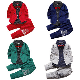 $enCountryForm.capitalKeyWord NZ - Kid Baby Boy Gentry Clothes sets Formal Party Christening Wedding Tuxedo Bow 2 Piece Sets Gentlemen Suit 17112401