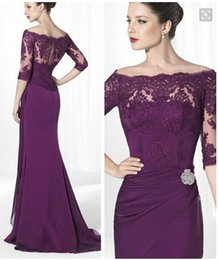 Barato Vestido De Renda Vintage Para Senhoras-Formal Purple Lace Mãe De Bride Vestidos Com Mangas Off The Shoulder Elegante Lady Sheath Long Chiffon Custom Made Party Prom Gowns