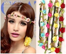 $enCountryForm.capitalKeyWord Canada - Bride Bohemian Beach Wedding Flower Headbands Elastic Floral Garland Hair Band Headwear Hair Accessories for Women Hair Decor WHA23