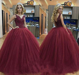96b9a08550e 2018 Burgundy Quinceanera Dress Princess Puffy Arabic Dubai Styles Sweet 16  Ages Long Girls Prom Party Pageant Gown Plus Size Custom Made