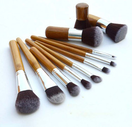 Chinese  In stock 11 pcs Professional Make Up Tools Pincel Maquiagem Wood Handle Makeup Cosmetic Eyeshadow Foundation Concealer Brush Set Kit #71731 manufacturers