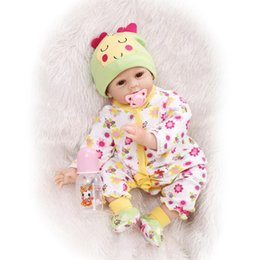 Discount cute reborn babies girls - Wholesale- Soft Silicone Reborn Baby Doll 22inch 55cm Magnetic Mouth Lifelike Cute Boy Girl Toy Lovely Clothes Kids Doll