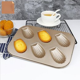 Discount metal shapes - 6 Holes Madeleine cake mold Champagne DIY Shell Shaped Carbon Steel Cake Mold Cake Baking Model For Wedding Party