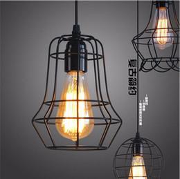 Black Warehouse Lights NZ - 2016 new arrivals LOFT lamp Vintage pendant light LED light balck iron metal cage lampshade warehouse style lighting light fixture