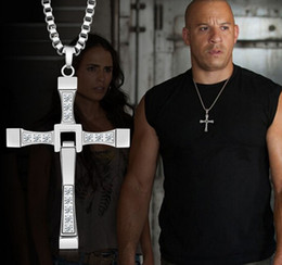 Discount cross fast furious stainless steel New Design Charming Style 316L Stainless Steel Silver Zircon Cross Pendant Necklace Unisex Men Fast & Furious So Cool Cl
