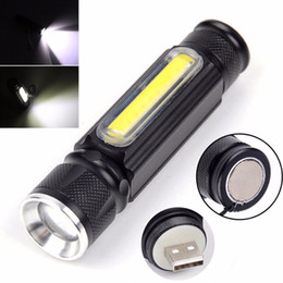 $enCountryForm.capitalKeyWord NZ - USB Rechargeable Mini T6+COB LED Flashlight 4 Modes Zoomable Handy LED Flash Light Torch Camping Light with Magnet Built Battery