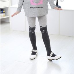 Leggings Aux Imprimés Gris Pas Cher-Baby Girls Leggigs Cotton Tabby Cat Imprimé Legging Scoks 2015 New Children Cute Tights Livraison gratuite Noir Gris B0933