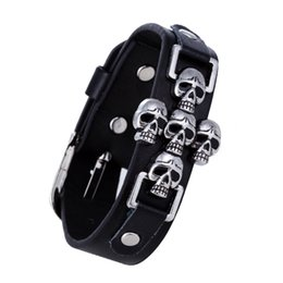 Discount skull rivets leather bracelet Wholesale New Motor Cycles Punk Skull Rivet Men Bracelets Wide Leather Bracelet Retro Cuff Rivet Bangles Free shipping