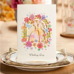Card Laser Designs Canada - Personalized Elegant Bride and Groom Design Wedding Invitation Card Ivory Color Creative Flower Laser Cut Wedding Invitations