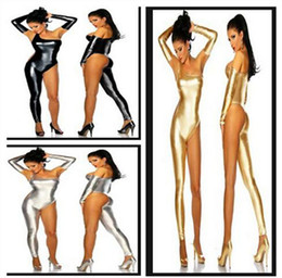 Wholesale latex clothing for sale - Group buy Hot sale Nightclub tight patent leather leg pants bodysuit Siamese clothes sexy bronzing Costumes Cosplay latex catsuit latex clothing