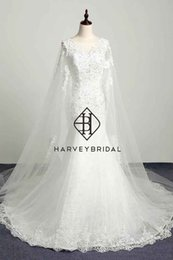 Barato Vestidos De Noiva Com Tanque-HarveyBridal Tank Top V-neck Voltar Lace Up Mermaid Wedding Dresses com Cowl Backs Backless Lace Vintage Bridal Gowns Vestido de novia