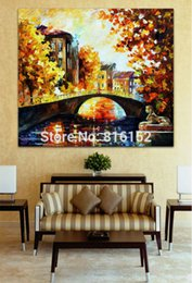 Impressions Canvas Print Canada - Modern Palette Knife Golden Impression Sunset And Bridge Painting Printed on Canvas for Living Room Office Wall Decoration