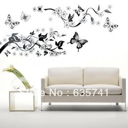 tree bedroom wall stickers UK - Bedroom Livingroom Decoration Butterfly Flowers Tree Wall Stickers   Wall Decal Free Shipping