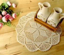 wholesale crochet mat Canada - Handmade Crocheted Doilies applique tableware Mat pad Round Vintage wedding home decoration 100PCs Coasters 23cm White