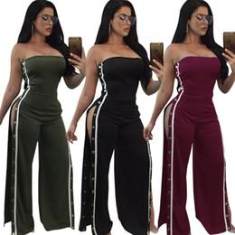 Barato Calças Largas À Noite-Ladies Fashion Evening Cocktail Party Slash Neck Strapless Wide Leg Split Combos Jumpsuit Womens Bandeau Clubwear Long Pants