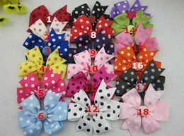 $enCountryForm.capitalKeyWord Canada - 20pcs 18COLORS polka dot ribbon bows WITHOUT CLIP with button Baby Boutique hair bows Hairclips Girls' hair accessories hair pins