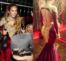 Discount velvet t shirts summer - New Sexy Burgundy Vestido De Festa Evening Dresses High Neck Long Sleeve Lace Appliques Beads Mermaid Velvet Open Back F