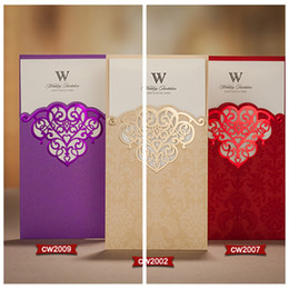wholesale floral hollow wedding invitation cards red gold purple customized wedding suppliers bridal wedding favors invitation cards - Purple And Gold Wedding Invitations