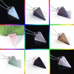 $enCountryForm.capitalKeyWord Australia - 10pc Silver Plated Natural Gem Stone Pyramid Reiki Pendulum Pendant Charms Healing Chakra Fashion Jewelry For Women Free Shipping