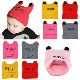 toddler crochet cat hat Canada - baby hat autumn cute cat boy&girl cap cartoon Cat Ear Toddler Hats Winter Milk Baby Caps Warm Knitted Newborn Hats Infant Beanies Skullies