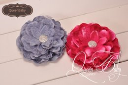 flat gem backs NZ - 5.5'' Peony Flowers with Shiny Gem Center Flat Back Tulle Shabby Flower for Headband Trial order Photography Props 30PCS LOT QueenBaby