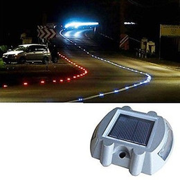 Solar Powered Green Light NZ - Solar Powered 6LED Road Stud Driveway Pathway Stair Deck Dock Lights Studs marker Pathway light 6LED White Red Blue Yellow Green