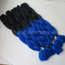 $enCountryForm.capitalKeyWord Canada - Kanekalon Jumbo Braiding Synthetic Hair 24 inch 100g Black&Royal blue Ombre Two Tone Colored Xpression Hair Extension best quality