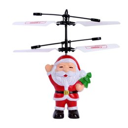 wholesale electric helicopters Canada - Top Quality Santa Claus Electric Infrared Sensor Flying Ball Father Christmas Inductive Aircraft Helicopter Flying Toys Christmas Gift DHL