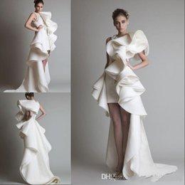 2019 Vestidos de boda de diseñador calientes Un hombro Apliques Ruffles Sheath Hi-Lo Organza Nuevo Customed White Ivory Krikor Jabotian Vestidos de novia en venta
