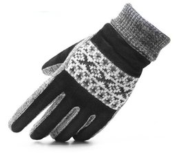 Leather Gloves For Men Australia - Winter knit gloves for men genuine leather warm gloves 12pairs lot free shipping