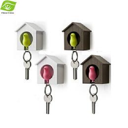 Bird Keychain Holder UK - Creative Sparrow Keyring Loss Prevention Birds Nest Wall Hook Holder Plastic Keychain Birdhouse,dandys